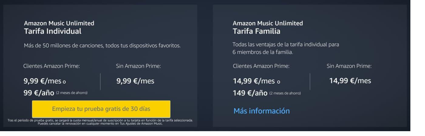 Tarifa Musica Amazon